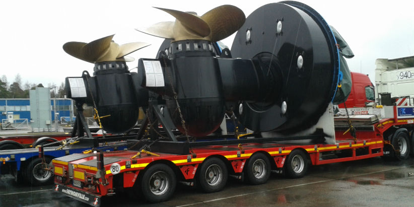 Oversize load trucking - ship-propellers